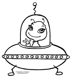 coloring page tuesday alien