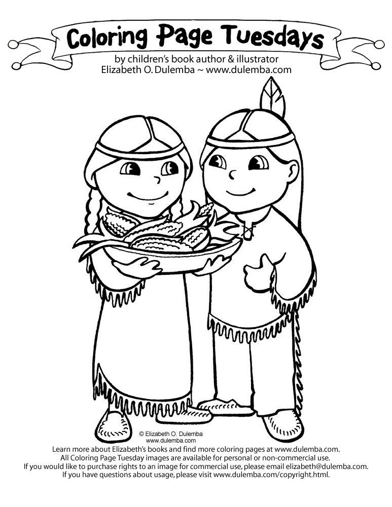 coloring page tuesday american indians - Girl Indian Coloring Pages