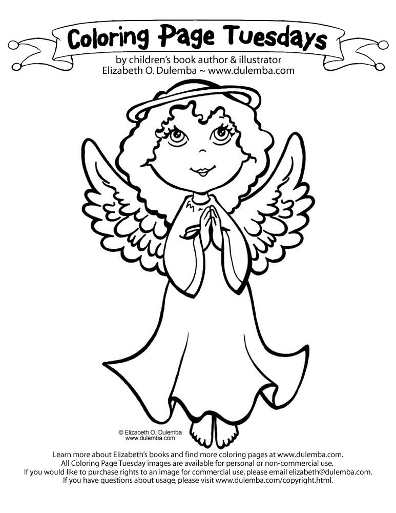 coloring page tuesday angel