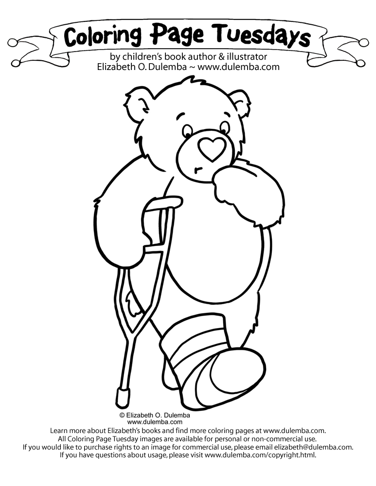 coloring page tuesday bad foot bear