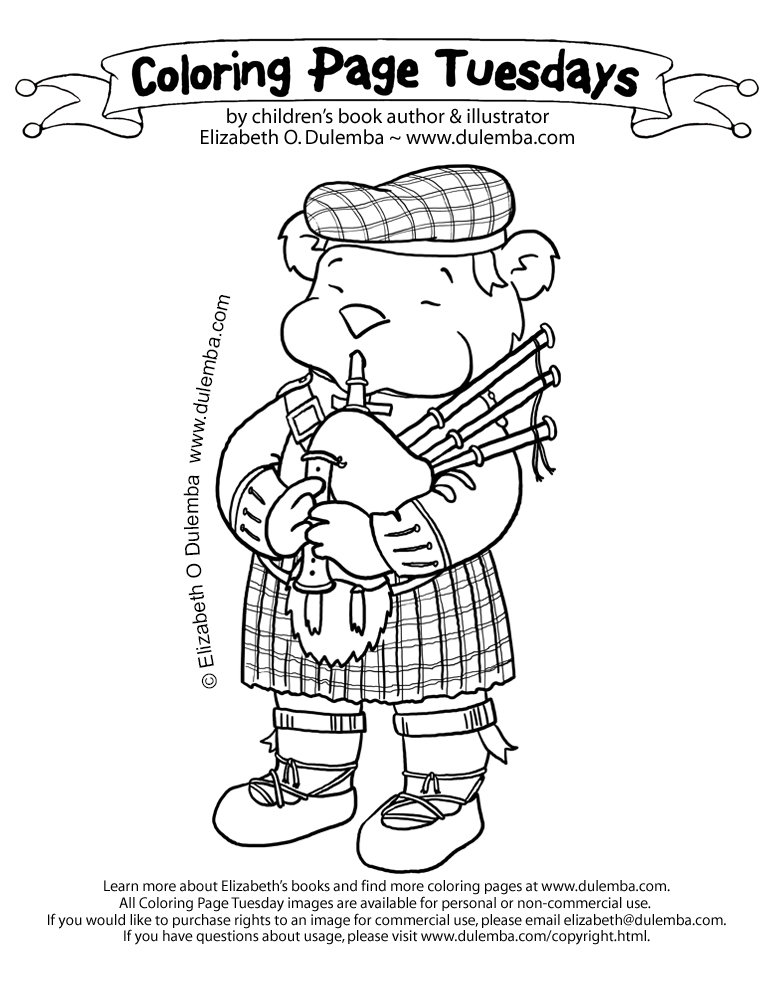 Funny Bagpipe Coloring Page - Worksheet & Coloring Pages