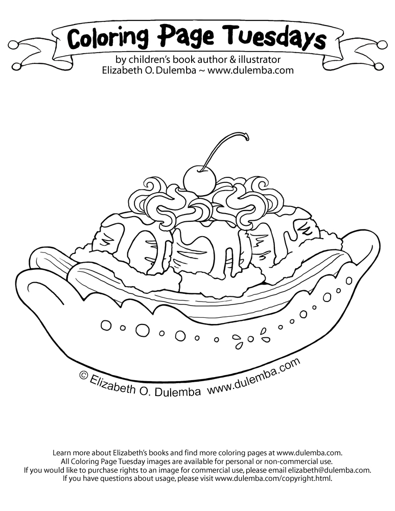 Dulemba Coloring Page Tuesday Birthday Sundae Banana Split Coloring Page