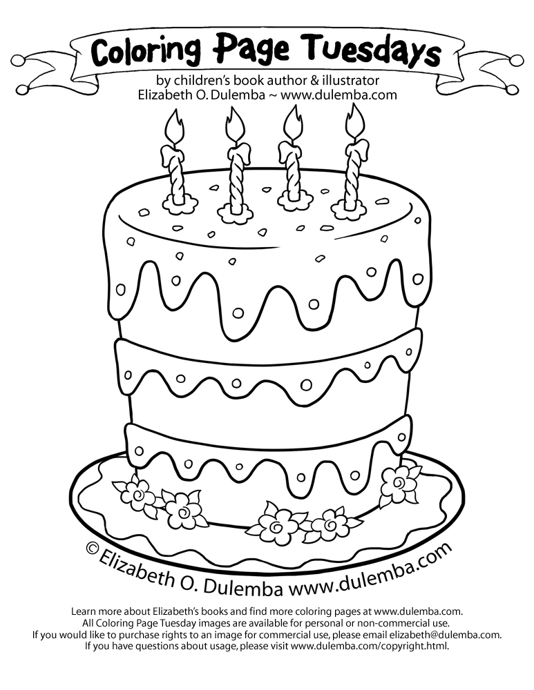 Coloring Page Tuesdays - Birthday Cake for 5th anniversary! title=