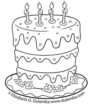 dulemba coloring page tuesdays birthday cake for 5th anniversary - Birthday Cake Coloring Pages