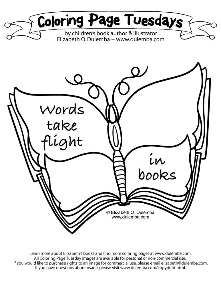coloring page tuesdays book butterfly - Colouring Pages Of Books