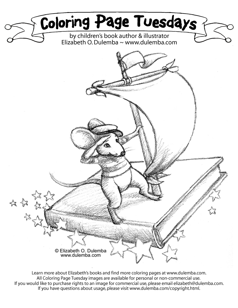 Coloring Page Tuesday - A Book is a Ship title=