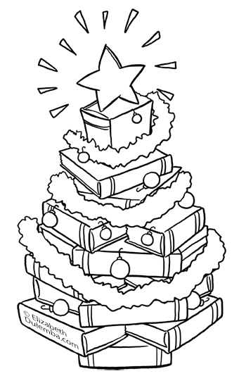 Coloring Page Tuesday - Book Christmas Tree!