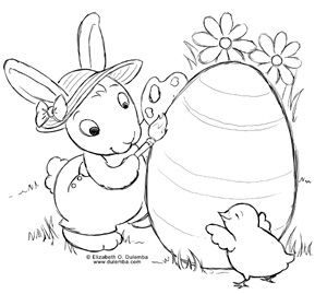 Heres The Easter Bunny In His Creative Role As Artist No Wonder I Always Liked Him Best Click Image To Open A Print And Color