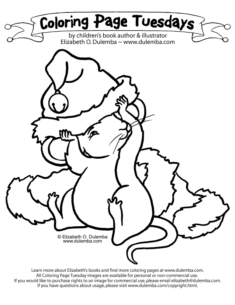 coloring page tuesday christmas mouse
