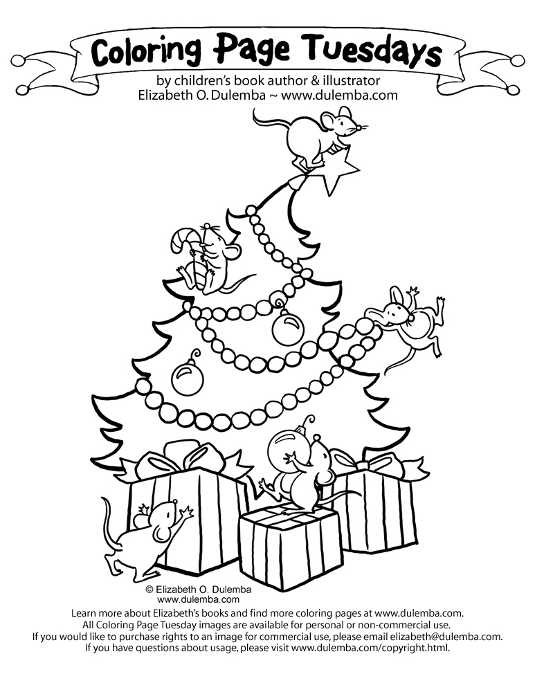 Coloring Page Tuesday - Christmas Mice title=
