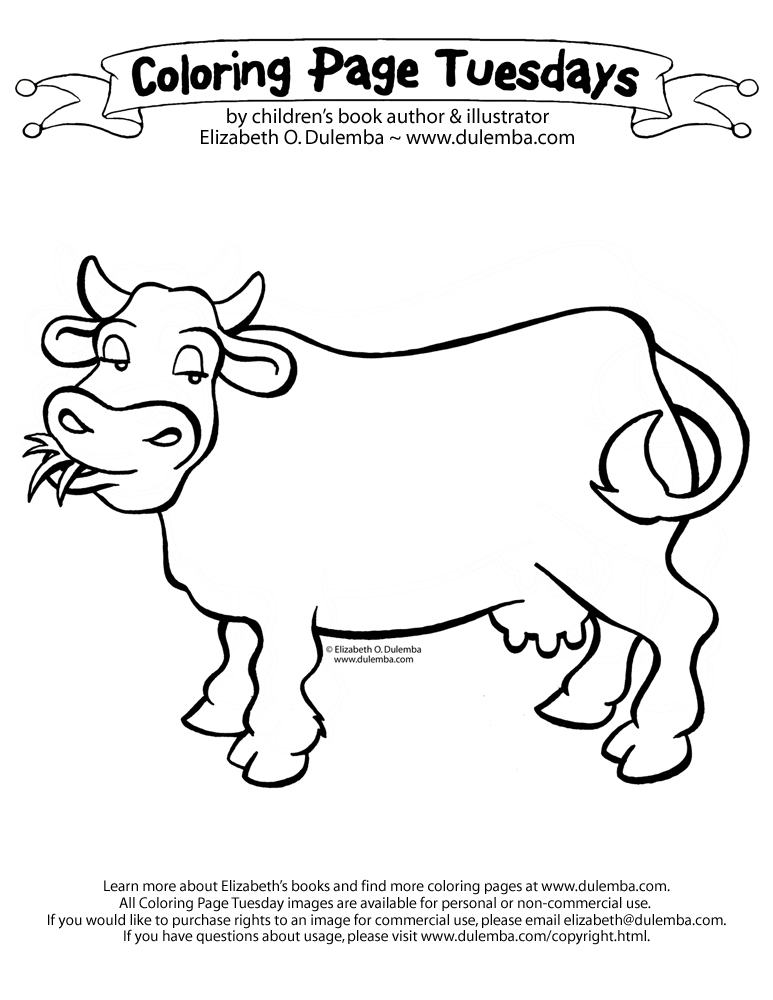 coloring pages of a cow.html