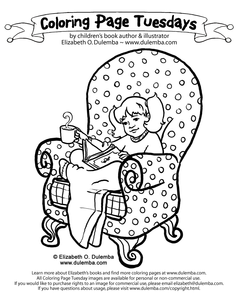 Coloring Page Tuesday - A Cumfy Chair . . .