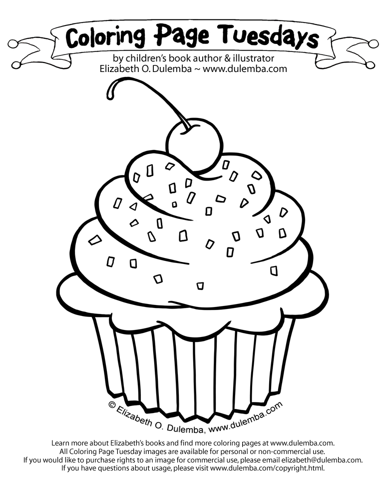 Coloring Page Tuesday - Cupcake! title=
