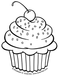 dulemba coloring page tuesday cupcake - Cupcakes Coloring Pages