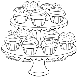dulemba: Coloring Page Tuesday - Tier of Cupcakes!