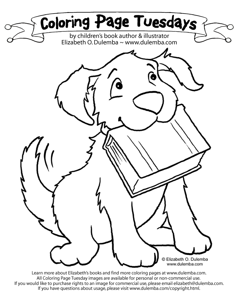 Coloring Page Tuesday - Dog with Book title=