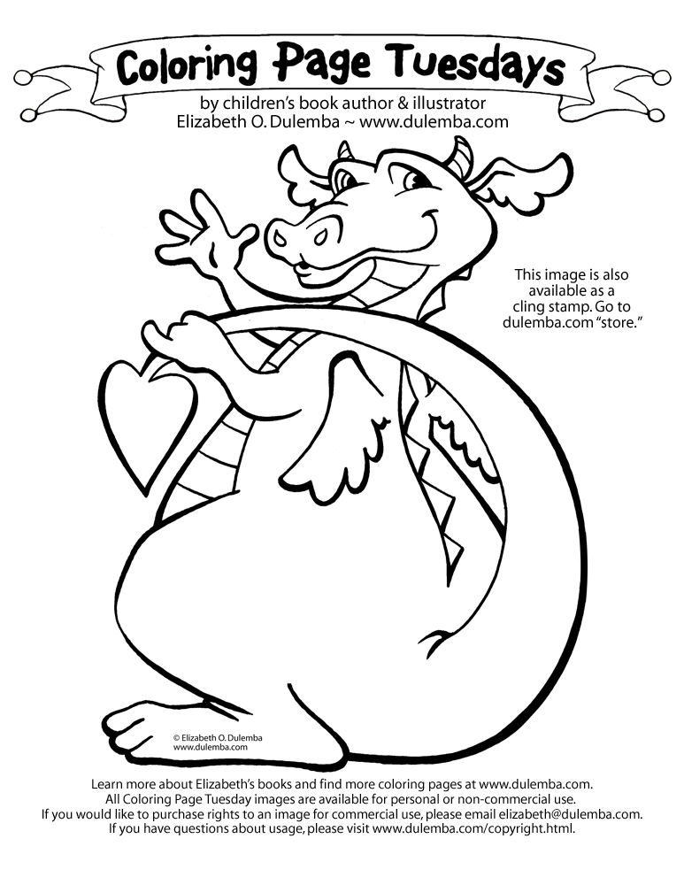 This is one of my favorite coloring pages to share - my happy dragon! title=