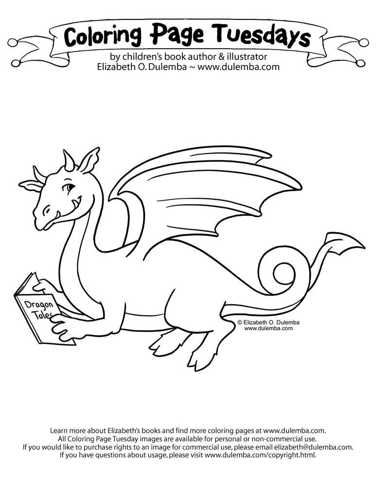 Coloring Page Tuesday - Reading Dragon