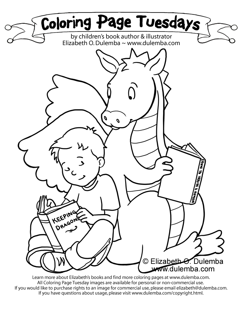 coloring page tuesday keeping dragons