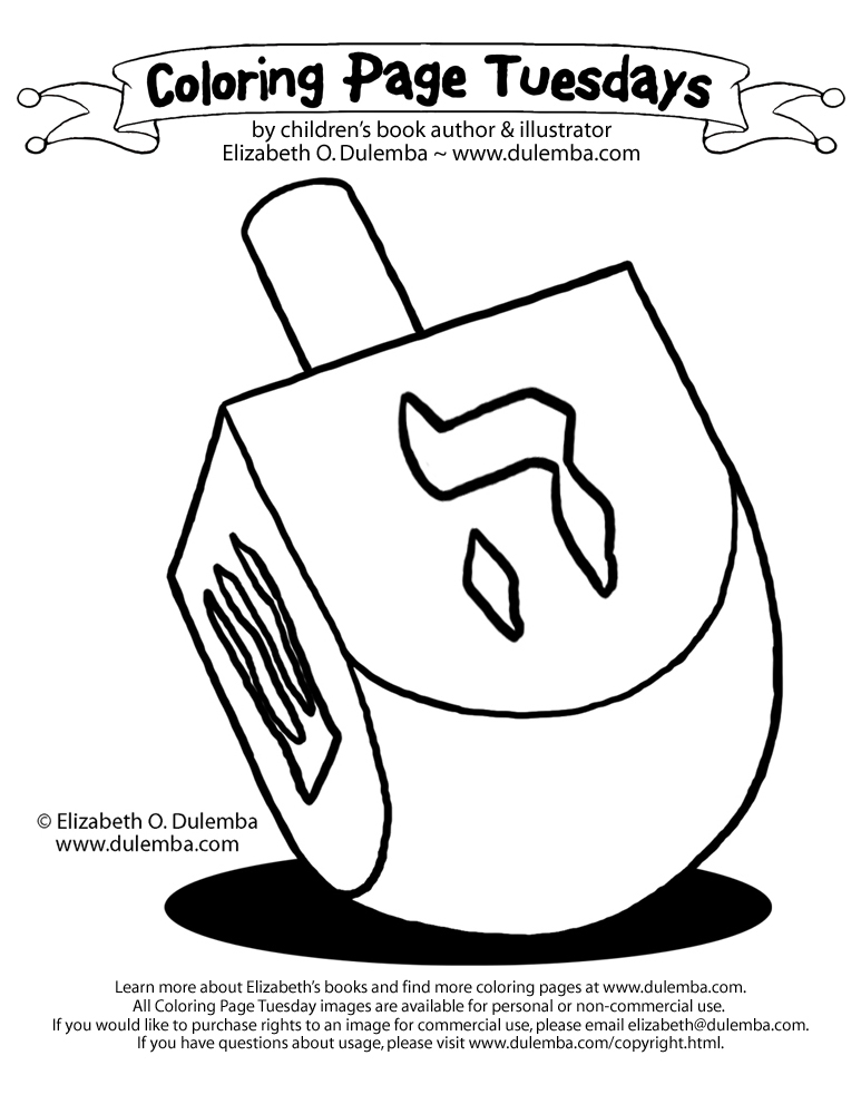dulemba Coloring Page Tuesday bonus Dreidel