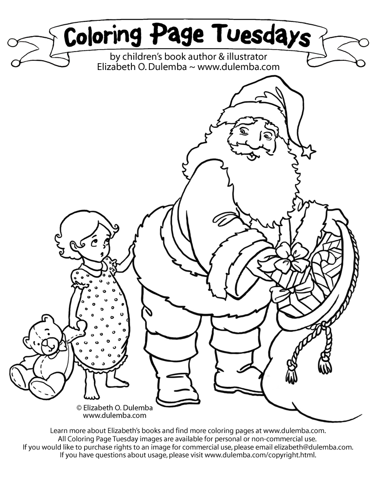 coloring page tuesday excuse me santa