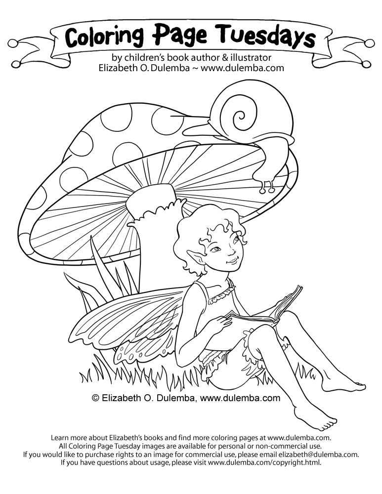 dulemba: Coloring Page Tuesday Fairy Reading to a Snail