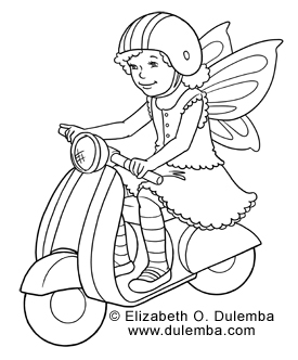 coloring page tuesday fairy on a scooter fennec
