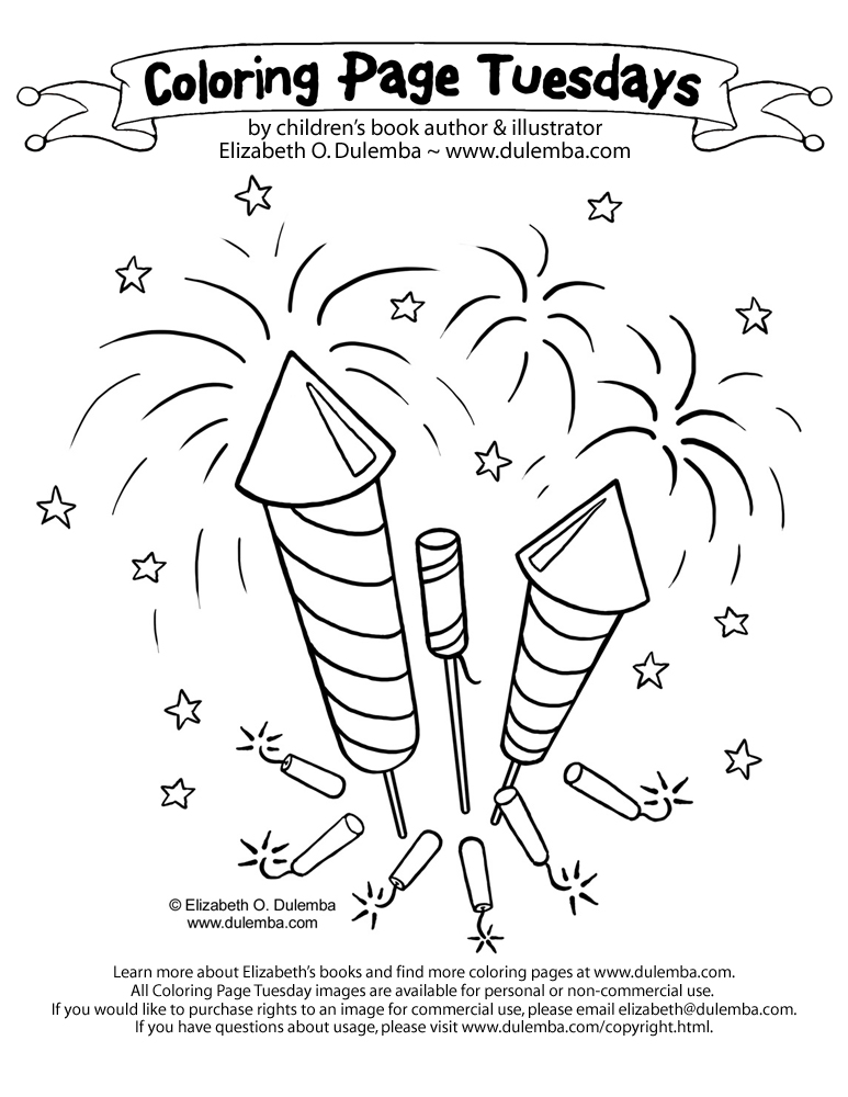 free printable fireworks coloring page for kids 2
