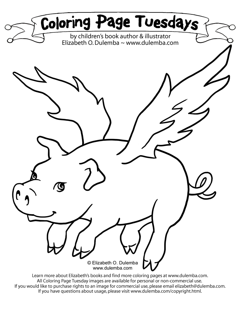 Flying Pigs Drawing Flying Coloring Pages