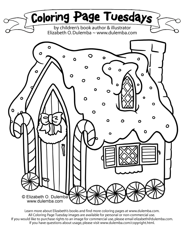 coloring page tuesday gingerbread house