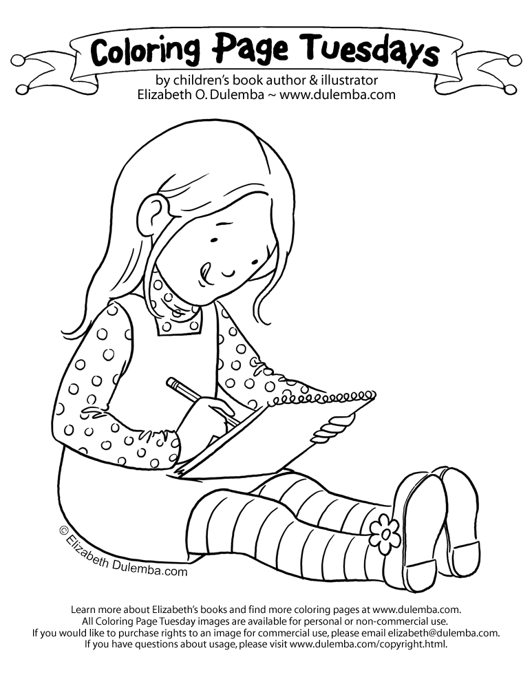 coloring page tuesday writing girl