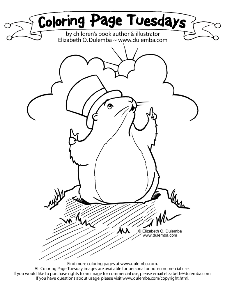 coloring page tuesday groundhog day