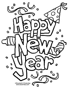 Happy New Year Colouring Page.