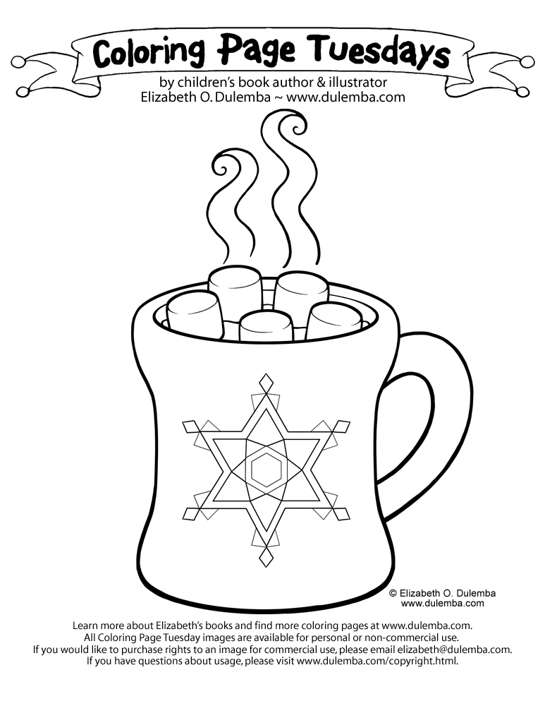 coloring page tuesdays hot chocolate