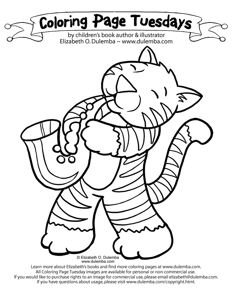 Coloring Page Tuesday - Jazz Cat