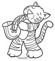 Dulemba Coloring Page Tuesday Jazz Cat Jazz Coloring Pages
