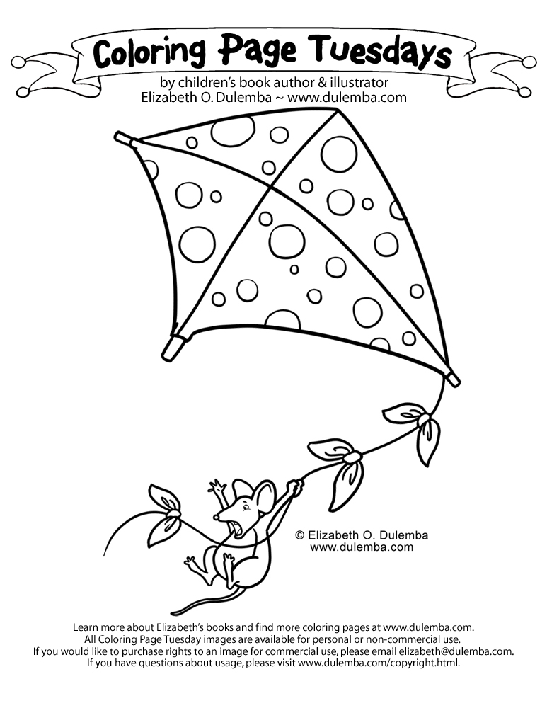 Coloring Page Tuesday - Kite Flying title=