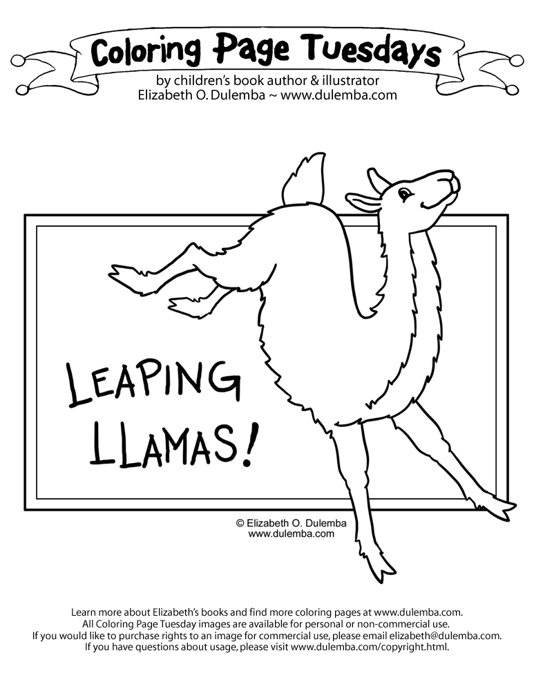 dulemba Coloring Page Tuesdays  Leaping Llamas