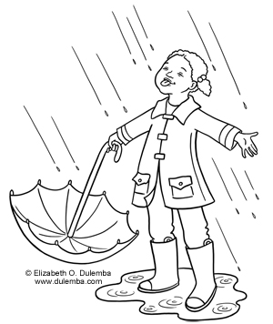 coloring page tuesday let it rain