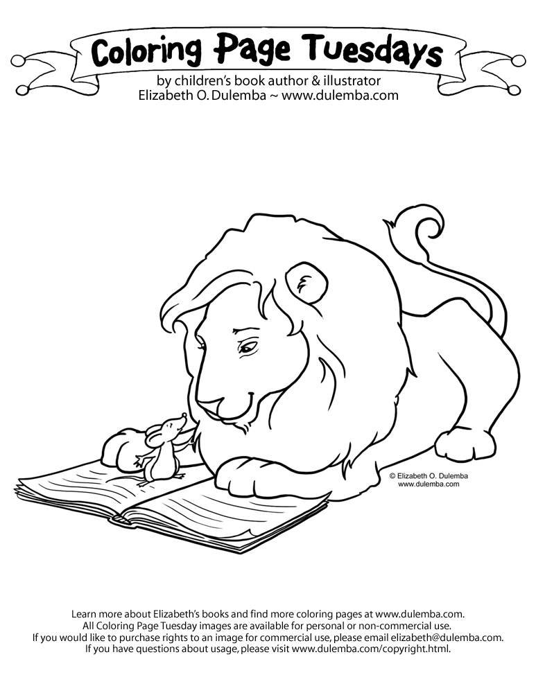 Coloring Page Tuesday - Lion and Mouse