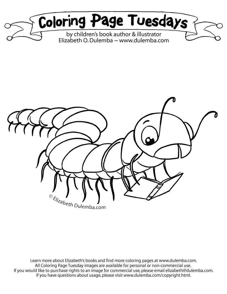 coloring page tuesday millipede read