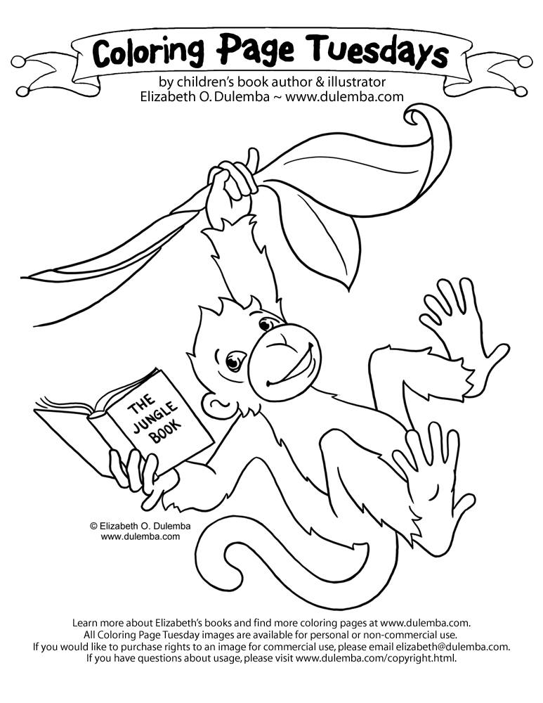 Coloring page tuesday reading monkey