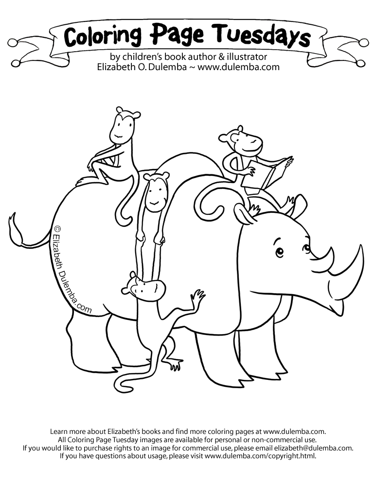 What Could Be More Entertaining Than A Bunch Of Monkeys Reading On Rhino I Mean Really CLICK HERE For Coloring Pages