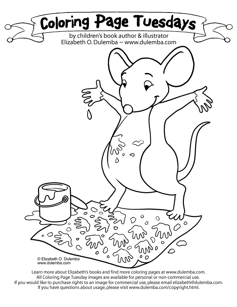 coloring page tuesday painting mouse