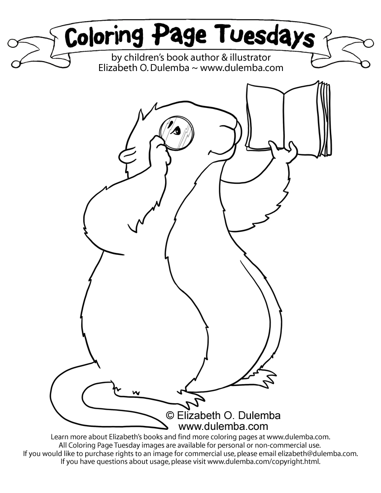 dulemba: Coloring Page Tuesday - Muskrat with a Monacle