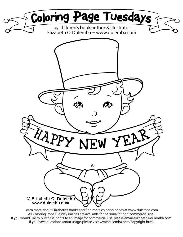 New years baby coloring pages coloring page tuesday happy new year