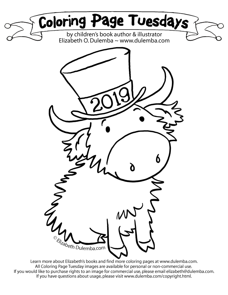 Dulemba Coloring Page Tuesday New Years Coo