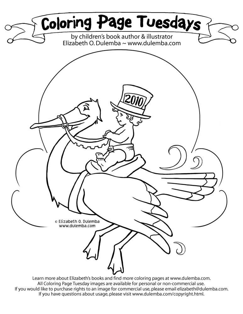 dulemba Coloring Page Tuesday New Years Stork