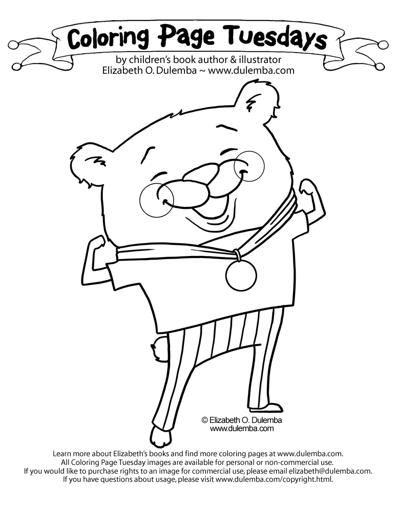 coloring page tuesday olympic bear