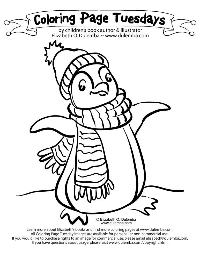coloring page tuesday penguin